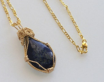 Lapis Necklace, Wire Wrapped, Semi Precious, Midnight Blue, Lapis Solitaire, Laplis Lazuli, Blue Stone, 18 Inches, Gold Plated, Dark Blue