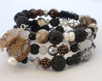 Wrap Bracelet, Memory Wire, Boho Style, Multi Stones, Semi Precious Gems, Mixed Metal, Lava Rock, Black and Brown, Average Size, Casual Look