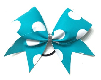 Cheer Bow- Teal Polka Dots