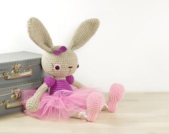 PATTERN: Ballerina Bunny - Crochet tutorial - Amigurumi pattern - Soft toy rabbit - Cute toy ballerina - EN-038