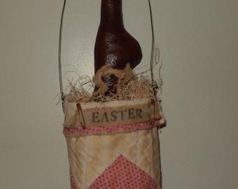 Bunny in a Quilt Bag Door Hanger - READY TO SHIP