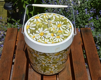 Vintage Ice Bucket with Daisies