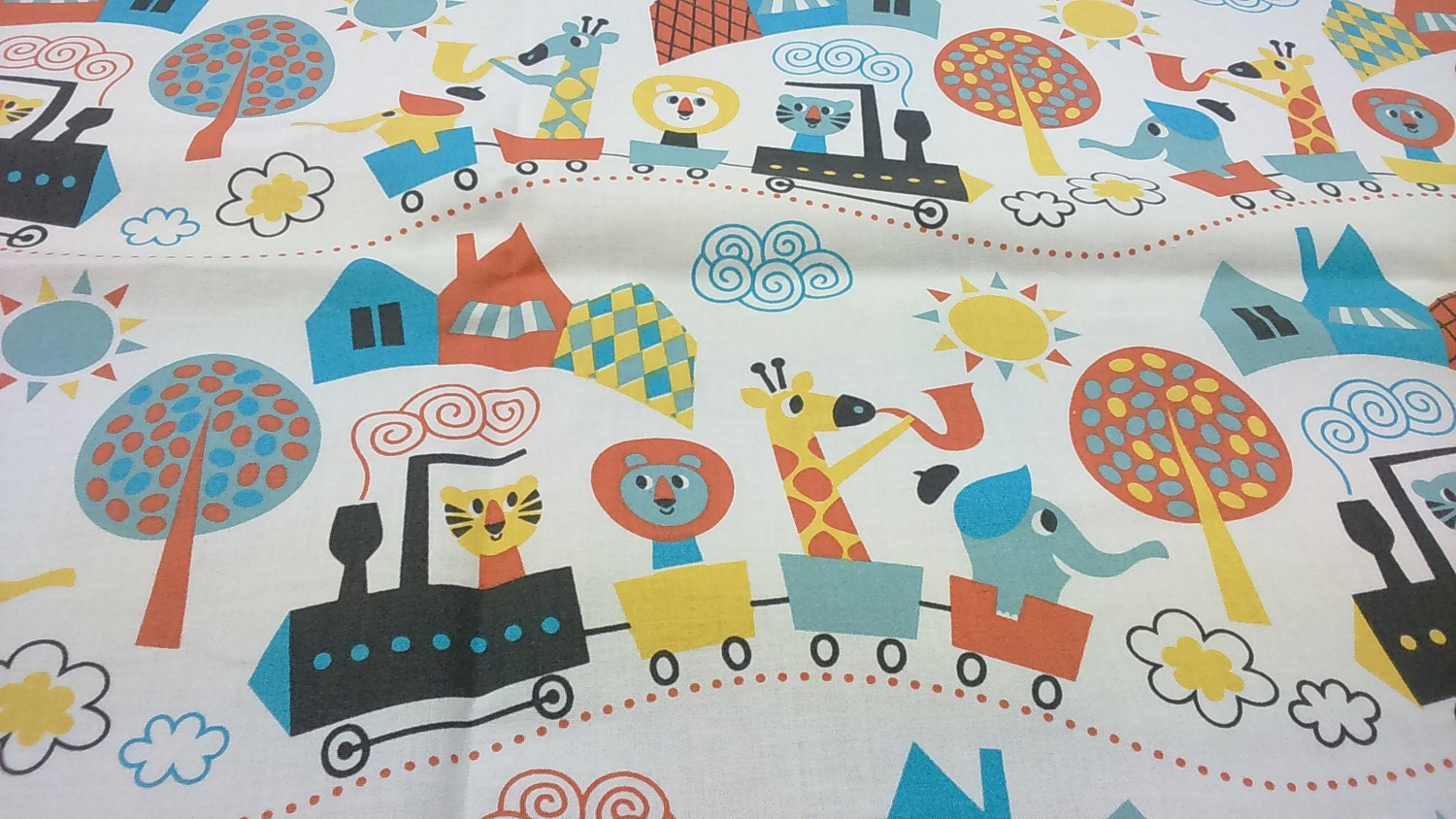 Fabric white yellow blue fun animals trains trees modern for Modern childrens fabric