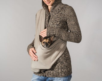 Dog sling MEDIUM fleece beige dog carrier