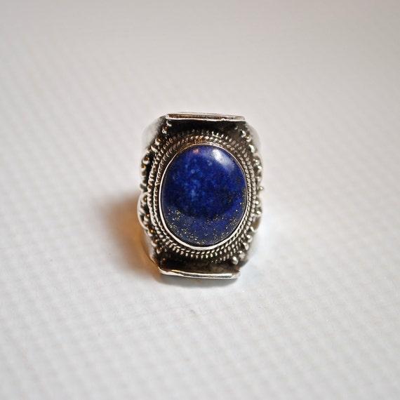 Tibetan Sterling Silver Blue Lapis Ring Sz 8.5 #4868