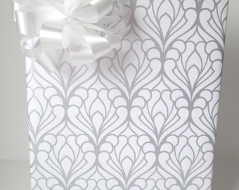 Art Deco Damask Wedding Wrapping Paper in Silver and White 10 ft x 24 inch Roll, Bridal Shower Gift Wrap
