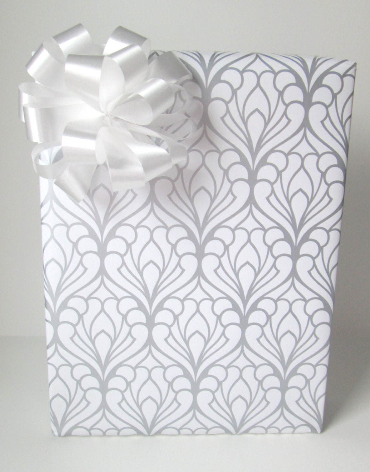art deco damask wedding wrapping paper in silver and white 10. Black Bedroom Furniture Sets. Home Design Ideas