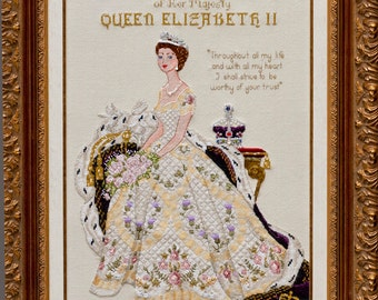 Queen Elizabeth II in Her Coronation Dress- Historical style Haute Couture Gown Counted Cross Stitch Chart Pattern Instant Download