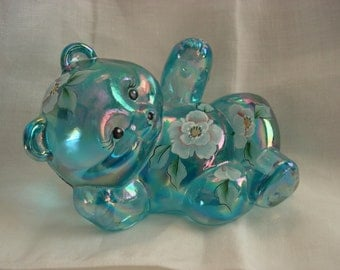 Fenton Aqua or Turquoise Iridescent Reclining Bear, Painted by VL Anderson
