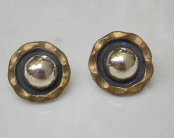 Sterling Silver & Brass Round Ball Post Earrings, Mexican 925, Mixed Metals