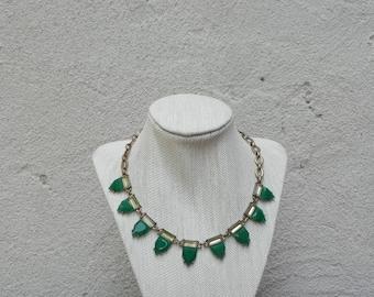 Vintage Emerald Green Gold Chain Link Statement Necklace