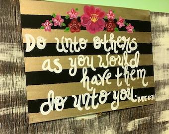 The Golden Rule Painting- Luke 6:31- Scripture Art- Scripture Canvas Painting- Bible Verse Painting- Do unto others- Bible Canvas Art