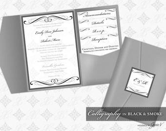 DIY Printable Wedding Pocket Folder Invitation Template | Printable Pocket Invitation (classic) | Calligraphy in Black & Smoke