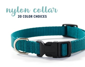 Simple Nylon Collar // 20 Colors // Size XS-L // Choose Your Color // Solid Color Dog Collar