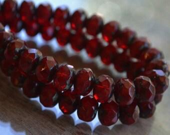 10 Opal Garnet Czech Picasso Faceted Rondelle Beads 8x6mm- Claret (703-10)