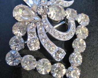 Fabulous Vintage Signed Eisenberg Ice Clear Crystal Brooch