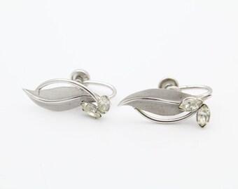 Pretty Vintage Sterling Silver and Crystal Leaf Screwback Earrings. [6576]