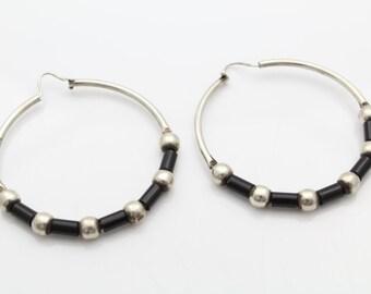 """Tribal Black Heishi Hoop Earrings Sterling Silver 1.7"""" 8.80 grams. [7135]"""