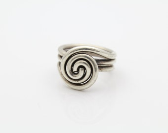 Artisan Swirl Sterling Silver Ring THICK and Chunky Size 7.5 Snail 10.4g. [7638]