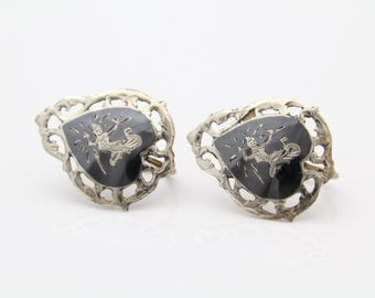 Vintage Siam Heart-Shaped Screw-Back Earrings in Sterling and Niello. [7664]