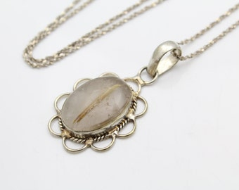 """Large Oval Pendant Rutilated Quartz in Sterling Silver on 30"""" Chain. [10105]"""
