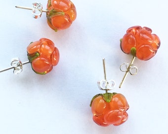 MTO - 1 pair Cloudberry lampwork earrings /925 silver / wildberry / Realistic cloudberryStuds /forest/ Berry/ studs