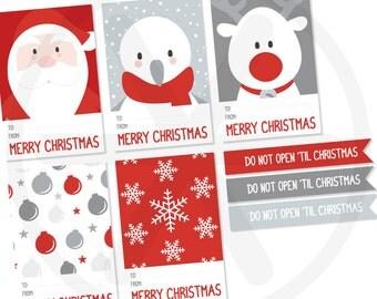 Christmas gift tags - Printable labels - PDF file.