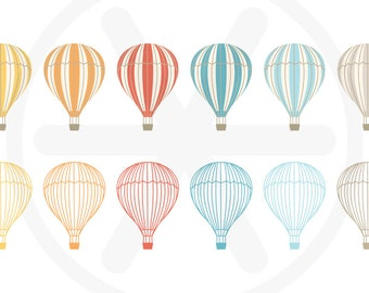 Hot air balloon clipart pack - Antique hot air balloons illustrations, to use in scrapbooking, card making..