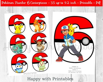 Pokemon GO Number 6 Centerpieces - Pokeballs Centerpieces - Pokemon GO - Pikachu - Pokemon Centerpieces - Pokemon party - Pokémon printable