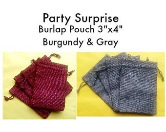 Burlap Pouches 3x4, Burlap Gift bags, jute bags, burlap bags, Burgundy and gray jute bags, men's jute bags, jewelry bags
