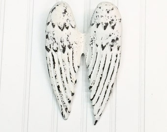 Angel Wing Decor/Angel Wings/Shabby Chic Wall Decor/SSLID0167/Religious Decor/Wings/Guardian Angel/Cottage Decor/ Shabby White/ French