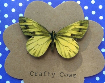 Beautiful big yellow butterfly brooch wooden butterfly badge festival butterfly jewellery butterfly gift
