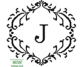 Instant Download Cross Stitch Pattern black Monogram Initial Alphabet J letter J Gift Home Decor House Warming Wedding Anniversary