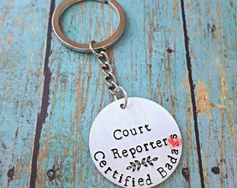 Court Reporter - Keychain - Court Reporting - Steno - Stenographer - Shorthand - CSR - RPR - Reporter - Captioner - CART Writer