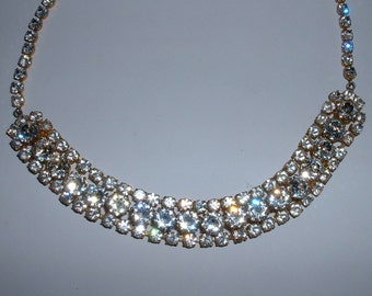 Vintage Made in Austria Headlight Clear Rhinestone Necklace