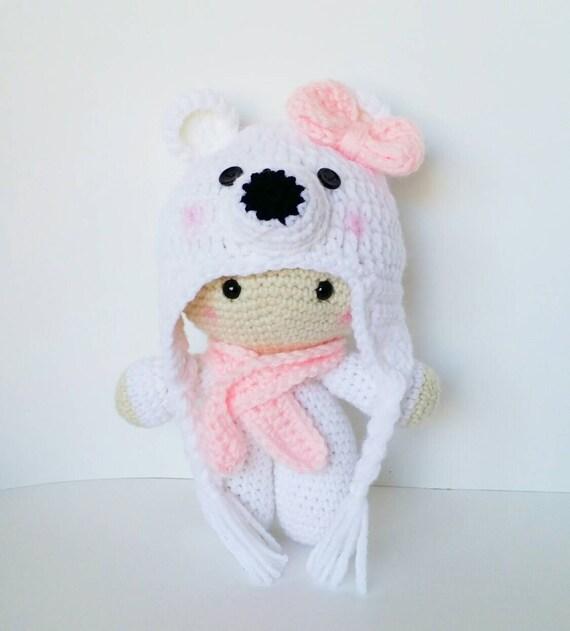 Crochet Amigurumi Doll Head : Crochet Doll Polar Bear Amigurumi Baby Doll Polar Bear