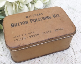 Antique WWII Military Button Polishing Kit tin Box, Sewing, storage canister, container, kitchen, decor