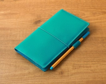 Turquoise Hobonichi Weeks cover, Travelers notebook, Fauxdori cover, Vegan Midori, Notebook cover, Planner cover