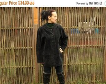 ON SALE Womens Black Suede Coat Jacket Button Up Pocket Genuine leather Blazer Large Size