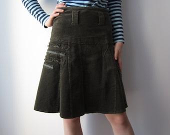 Women's Corduroy Skirt  Everyday Moss Green Skirt A-Line Knee Skirt Small Size