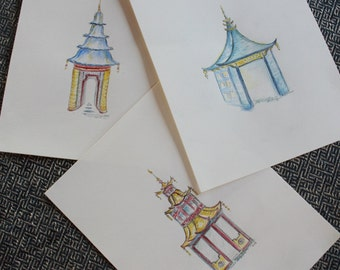 Set of 3 Hand-painted Asian Pagodas (3)