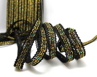 3 Yards 3/8 Inch Black and Gold Glittery Gimp Braided Trim|Woven Trim|French Gimp Braided|Scroll Braid Trim|Decorative Embellishment Trim