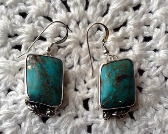 Blue Turquoise Earrings with Brown Matrix