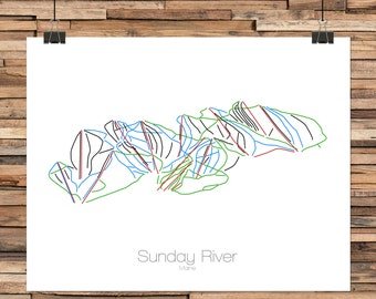 Sunday River Maine - Modern Ski Trail Map - Line Drawing