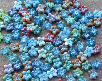 10 Mixed Matte Colourful Czech Pressed Glass Flower Beads 14x13mm