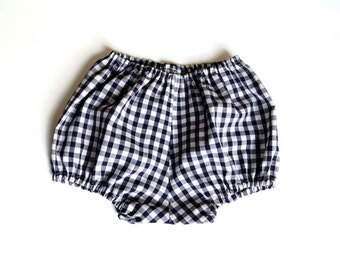 Baby Bloomers, Navy Gingham