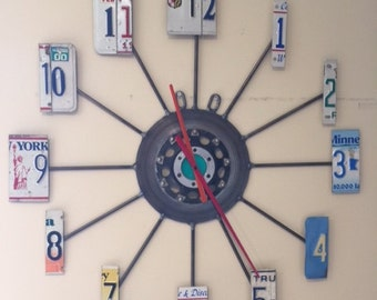 "Industrial Recycled License Plate Clock (36"")"