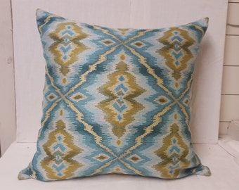 Blue and Green Patterned Oversized Throw Pillow Cover 27 x 27 Woven Fabric- Reversible