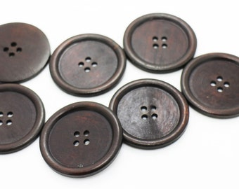 5 Extra Large Dark Brown Wooden Button, Coat Button, Decorative Button, Huge Four Holes Wide Edge Button, Natural Wood Button, 50mm
