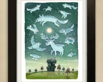 Woodland Constellations Illustration - Children's Art Print
